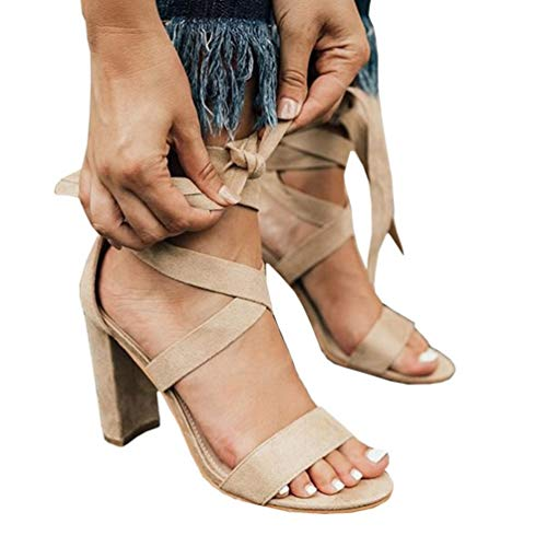 (Coutgo Womens Heeled Strappy Sandals Wrap Ankle Strap Open Toe Lace Up Block Heel Pumps)