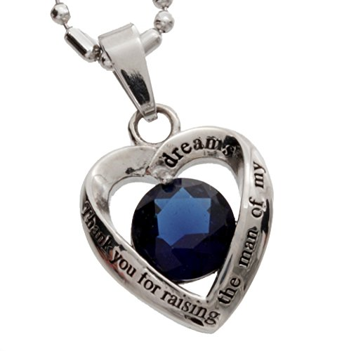R.h. Jewelry Womens Stainless Steel Heart Pendant, Mother in Law Dark Blue Glass Crystal Pendant