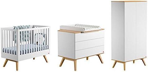 Vox Pack Cuna 60 x 120 cm, Color Blanco + colchón + cómoda Cambiador 3 cajones + Armario 2 Puertas Collection Nature: Amazon.es: Hogar