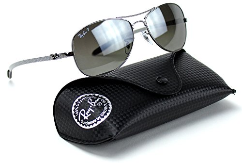 Ray-Ban RB8301 004/N8 CARBON FIBRE Gunmetal Frame / Polarized Silver Gradient Lens (Aviator Carbon)