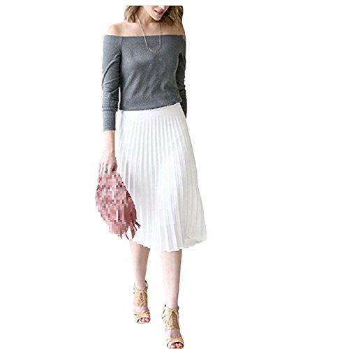 Mujeres De Cintura Elástica Corta Plisada Una Falda De Línea White