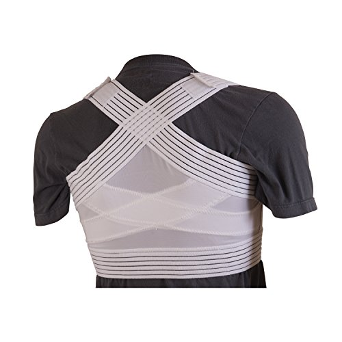 Unisex Criss Cross Back Support - Duro-Med Posture Corrector, Unisex, White, Criss-Cross Foam Bands, Medium-Large, 38
