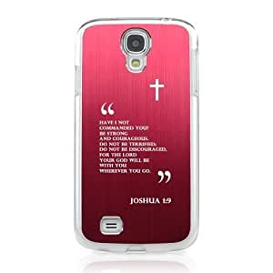 Joshua 1:9 - Geeks Designer Line Laser Series Red Aluminum on Clear Case for Samsung Galaxy S4