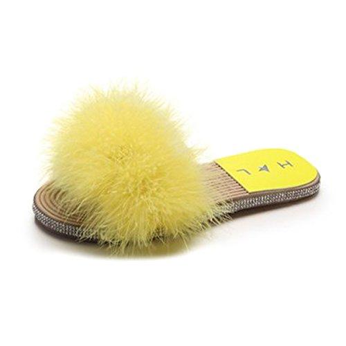 Flats Sandals H Diamante Fur Faux Rubber Soft Yellow Woven Luxury amp; L Slipper Sole vvqxw67H