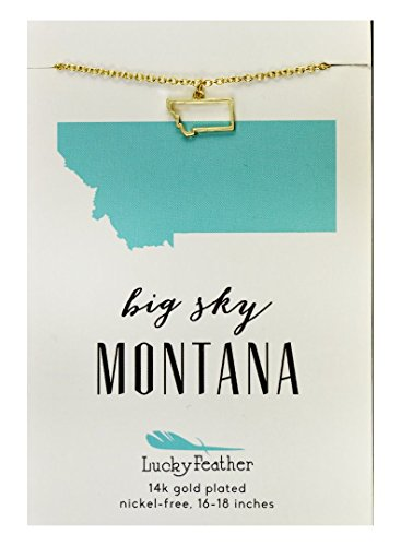 """Lucky Feather Montana Shaped State Necklace, 14K Gold-Dipped Pendant on Adjustable 16""""-18"""" Chain"""