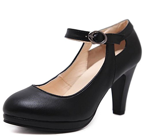 Shoes Gouache Heels Black Strap Woman Ankle Ladies Pumps High Women Office A1qy5wc1f