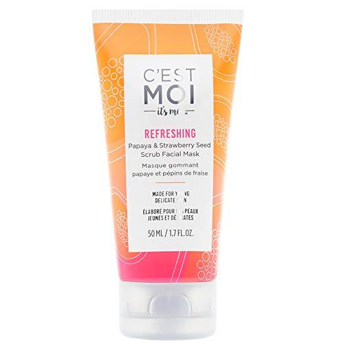 C'est Moi Refreshing Papaya & Strawberry Seed Scrub Facial Mask | Balance & Hydrate Skin, Moisturizing Facial Mask, Clinically Tested Non-Toxic Ingredients feat. Sugar & Aloe, EWG Verified, 1.7 - Papaya Strawberry