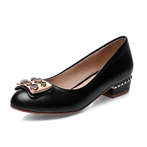 AllhqFashion Womens Low Heels Solid Pull On Closed Round Toe Pumps-Shoes Black PzYsdn