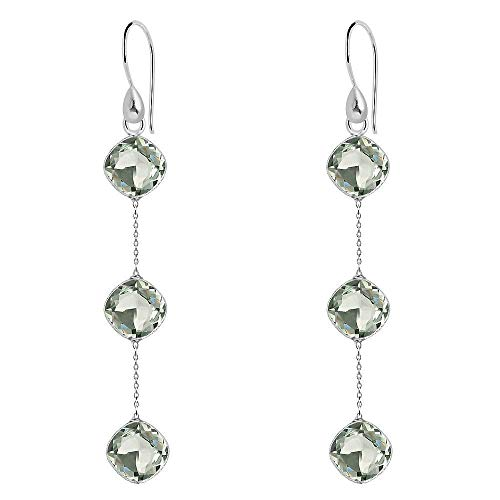 16.80 Ct Green Cushion Amethyst 925 Sterling Silver Dangle Earrings For Women: Traditional Jewelry set And Stylish Birthday Gift For Girlfriend And Wife: Birthstone Month-February By Orchid Jewelry