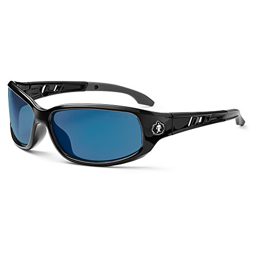 Skullerz Valkyrie Safety Sunglasses - Black Frame, Blue Mirror - Overstock Sunglasses