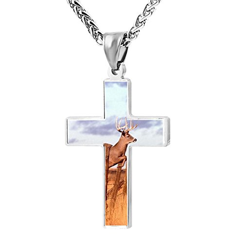 Gjghsj2 Cross Necklace Pendant Religious Jewelry Leaping Deer