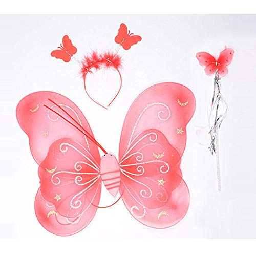 - Girl Butterfly 3 Pcs Set Double Wings Fairy and Angel Wings for Kids Cute Series for Halloween Dress Up Party with Headgear and Princess Wand, Red