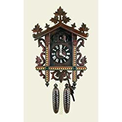 Original Eight Day Movement Cuckoo Clock with Genuine Inlaid Wood Dial 20 Inch