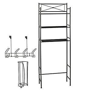 Space Saving 3 Piece Bathroom Organizer Set by LDR | Includes 3 Shelf Over The Toilet Unit, Toilet Paper Storage Holder and 4 Hook Over The Door Rack, Classy Design
