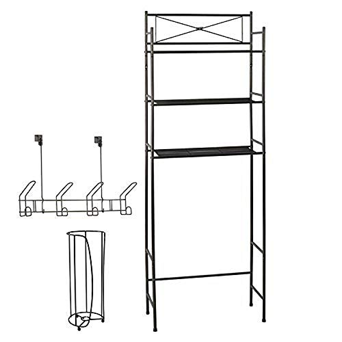 Finish Shelf Bathroom - Over the Toilet Storage Bathroom Organizer Set - 3 Shelf Above Toilet Space Saver, Toilet Paper Holder Stand, 4 Hook Over The Door Hanger Rack, Bath Organizers and Accessories, Bronze Finish