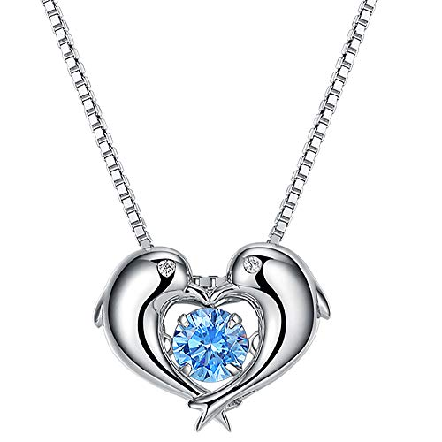 VANA JEWELRY Women Dolphin Necklace Blue Crystal Diamond CZ CubicZirconia Sterling Silver 92.5 Pendant Necklace Girlfriends Wife Charm Dainty Jewelry Gift Mother's Day Anniversary w/Box