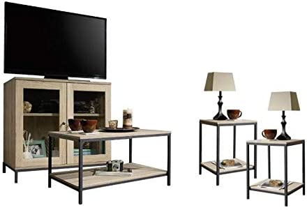 Home Square 4 Piece Living Room Set with Accent Chest Storage TV Stand, Coffee Table, and Set of 2 End Tables in Charter Oak
