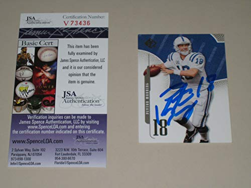 (Peyton Manning signed Indianapolis Colts 2008 SP Authentic Football Card 28 (JSA COA))
