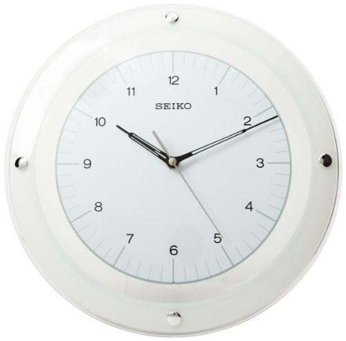 Seiko Wall Quiet Sweep Second Hand Clock Curved Glass Crystal White (Seiko White Clock)