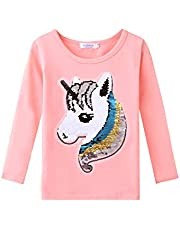 Arshiner Girls' Unicorn Flip Sequin T-Shirts Kid Girl Long Sleeve Cotton Tee Shirt Tops