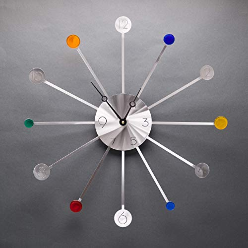 Starburst Aluminum Clock with fused glass by Artist Sondra Gerber, American Handmade
