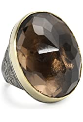 BORA Smoky Quartz Texturized Ring, Size 7