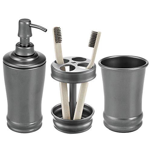 (mDesign Metal Bathroom Vanity Countertop Accessory Set - Includes Refillable Soap Dispenser, Divided Toothbrush Stand, Tumbler Rinsing Cup - 3 Pieces - Graphite Gray)