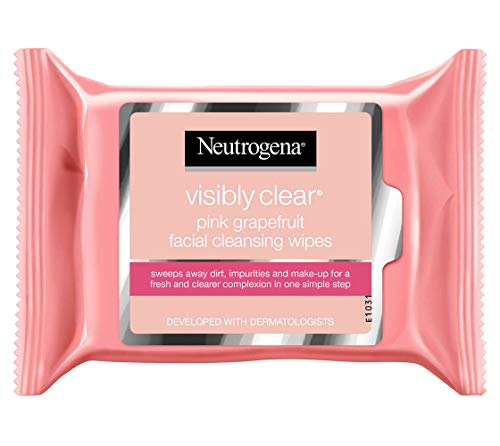 Neutrogena Oil-Free Facial Cleansing Wipes with Pink Grapefruit, 25 Count (Pack of -