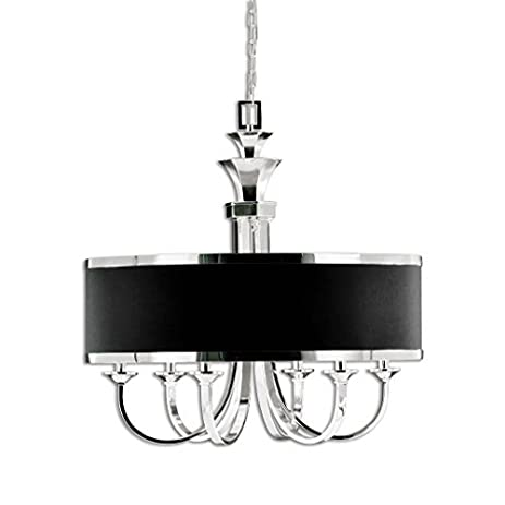 Uttermost 21130 Tuxedo 6-Light Single Shade Chandelier, Silver Plated Finish - Uttermost 21130 Tuxedo 6-Light Single Shade Chandelier, Silver