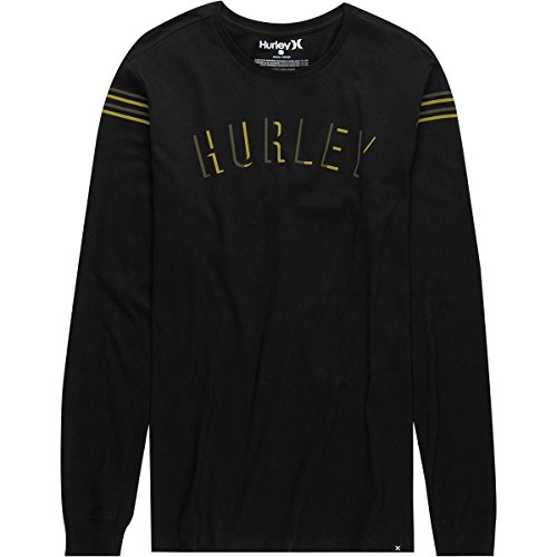 Hurley Men's Core Patches Long Sleeve Shirt Crew Neck Striped Relaxed, Black (010), Large