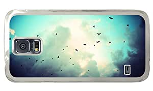 Hipster Samsung Galaxy S5 Case designer cover crows sky PC Transparent for Samsung S5