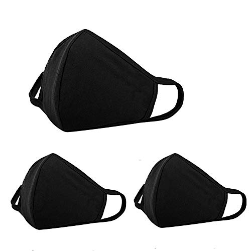 (3 Pack Anti Dust Face Mouth Cover Mask Respirator - Dustproof Anti-Dust Washable - Reusable Comfy Masks - Cotton Flu Protective Breathable Safety Warm Windproof Mask for Man and Woman, Black)