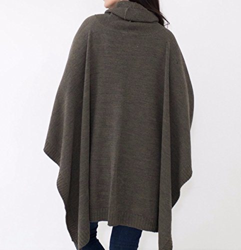Mer Sea Travel Sweater (Turtleneck Poncho, Moss)