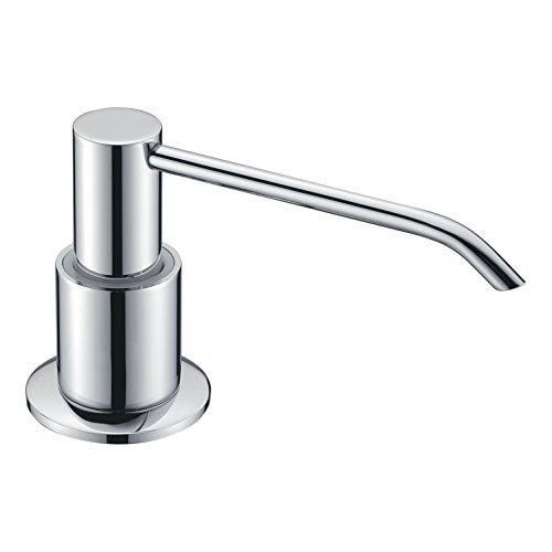 Sink Soap Dispenser, LAZADA Brass Pump Kitchen Soap Dispenser, Built In Desk Mount Liquid Lotion Kitchen Countertop Soap Dispenser, Large Capacity 13 OZ Bottle,Polished Chrome Finish by LAZADA HOME