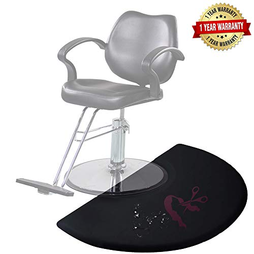 3 x 4 Salon Barber Shop Chair Anti Fatigue Floor Mat for Hair Stylist Semi Circle 5/8 Thick Black