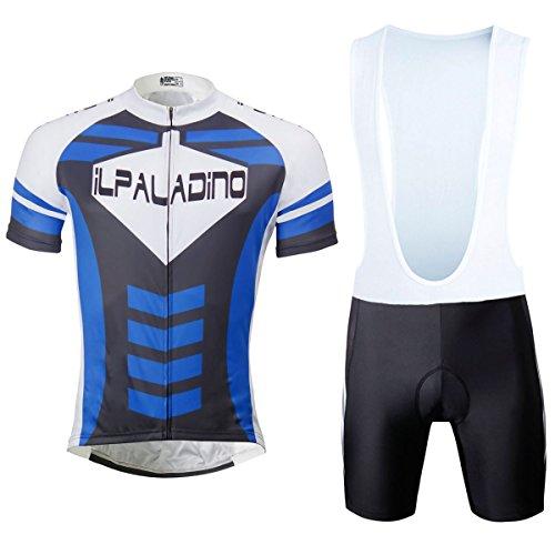 織る環境に優しいしゃがむ[ILPALADINO] #762 高品質サイクルメンズ用 短袖 3Dパッド付き半ズボン パンツ サロペットパンツ オーバーオール 上下セット cycling clothes サイクリングウェアMTB レーサー