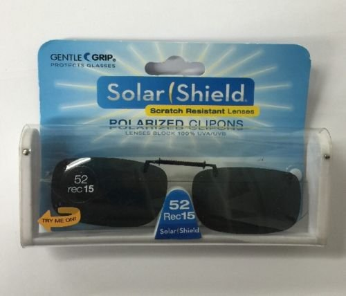 SOLAR SHIELD Clip-on Polarized Sunglasses Size 52 rec 15 Black Frameless - 15 Sunglasses