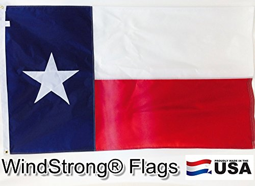 Solarmax Nylon State Flag - WINDSTRONG 4x6 FT Sewn Texas Flag (Double Sided) SolarMax Nylon Lone Star State Sewn Applique Star and Sewn Stripes Reinforced Corners Made in USA