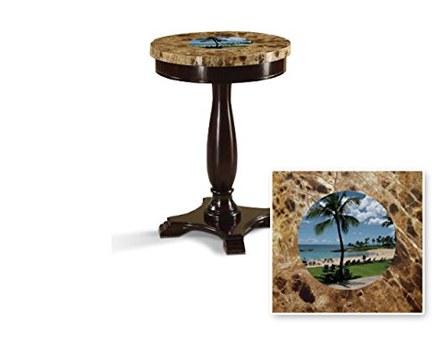 New Round Top Espresso / Cappuccino Finish Night Stand End Table with Faux Marble Table Top featuring Hawaii Beach Theme by The Furniture Cove