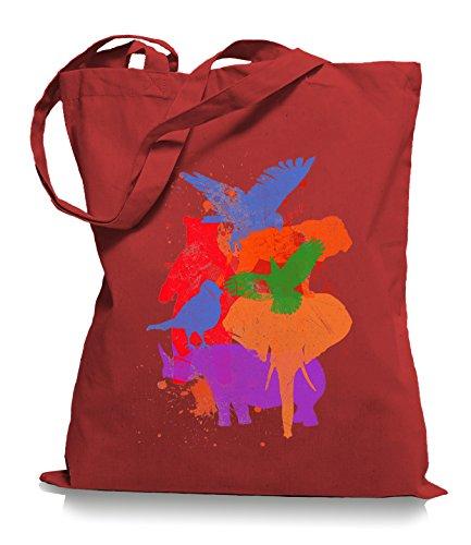 Ma2ca® Wild Animals - Jutebeutel Stoffbeutel Tragetasche / Bag WM101 Classic Red