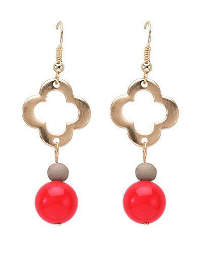 Occasionally Made Clover Beaded Earring, Red/Grey