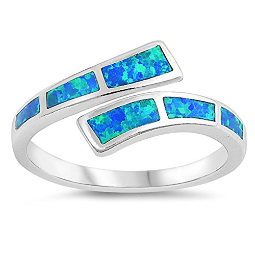 Blue Simulated Opal Wave Joint Ring .925 Sterling Silver Double Shank Band Size 8