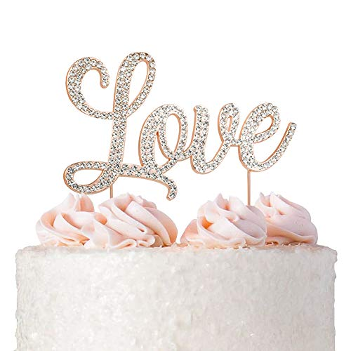 Love Wedding Cake Topper - ROSE GOLD - Cake Topper Decoration for Wedding Anniversary Bridal Shower Bachelorette Party Vow Renewal Decoration Ideas - Solid Metal Rhinestone Cake Topper