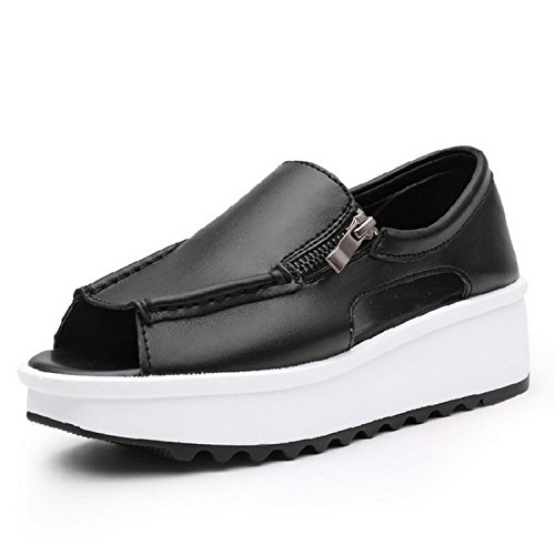 2018 Summer Women Sandals Wedges Sandals Ladies Open Toe Round Toe Zipper Black Silver White Platform Sandals Shoes,8333 Black,8