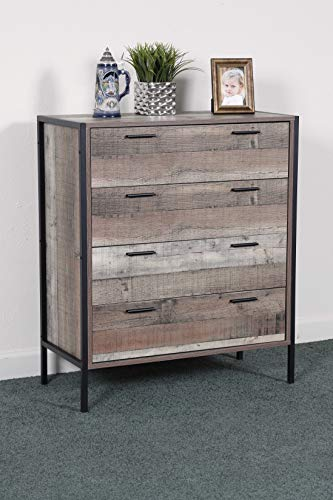 OS Home and Office Furniture Model Metal Frame and Legs four drawer chest, Rustic Reclaimed Barnwood Laminate