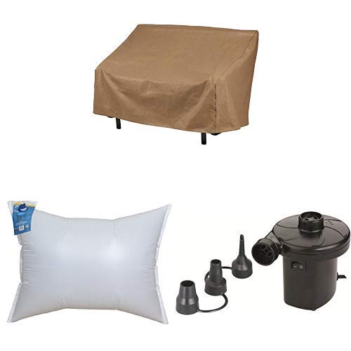 Duck Covers Essential 51'' Bench Cover with Duck Dome Airbag, 48''L x 36''W and Duck Dome Airbags Electric Air Pump