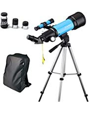 Telescope for Kids Beginners, 70mm Astronomical Refracter Telescope - Travel Scope with Tripod & Finder Scope - Perfect for Children Educational and Gift (Blue)