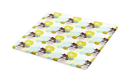 Ambesonne Floral Cutting Board, Pastel Wildflowers Drawing of Foliage Leaves Nature Inspired Flora, Decorative Tempered Glass Cutting and Serving Board, Large Size, Baby Blue Yellow Green Brown ()