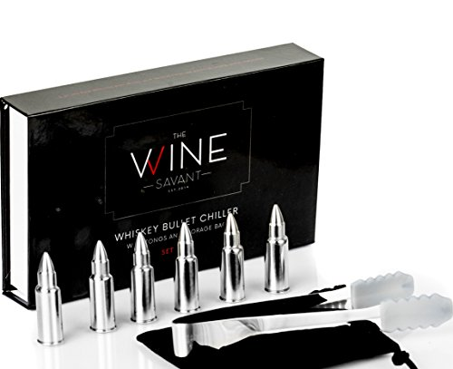 Whiskey Stones Bullets Set of 6, By The Wine Savant - Stainless Steel Bullet Shaped Ice Cubes, Gift Box Come, Tongs and Storage Bag (Stainless Steel Bullets)