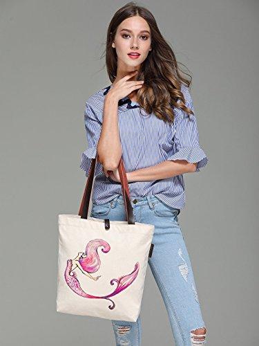 Bag Graphic Handbag Colourful Tote Women's Mermaid Canvas So'each Shoulder W29EDHI